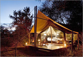 Walking safari tented accommodation