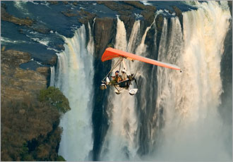 Breathtaking microlighting over the falls